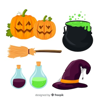 Spooky elements for halloween decoration collection