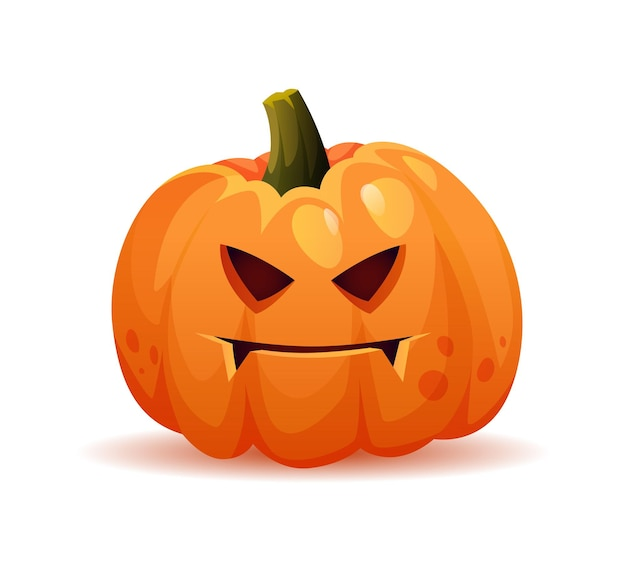 Spooky and evil halloween pumpkin personage with frown on face scary expression of symbol of october