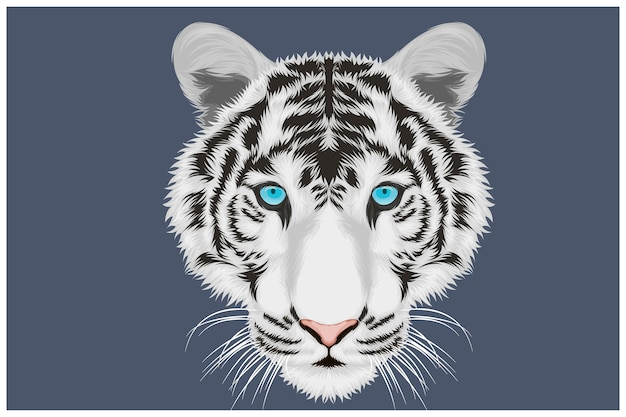 Spooky face white tiger illustration