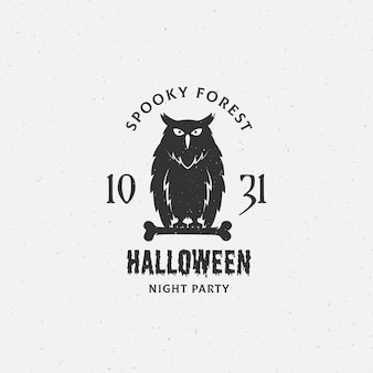 Spooky forest halloween  label, emblem or card template.