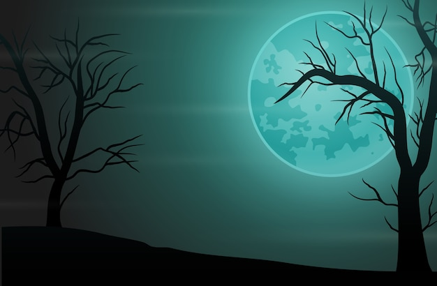 Жуткий лесной ночной фон с полной луной