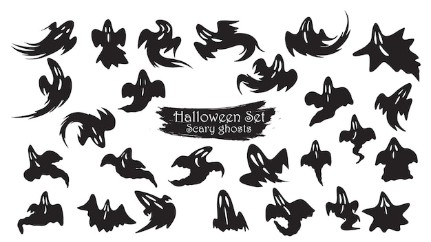Spooky ghost fly silhouette collection of halloween