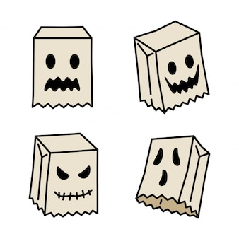 Spooky ghost icon halloween cartoon character paper bag