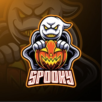 Spooky ghost and pumpkin logo mascot