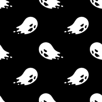 Spooky ghost seamless pattern halloween cartoon