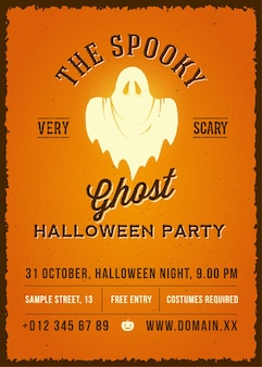 The spooky glowing ghost abstract  vintage poster, card or flyer.