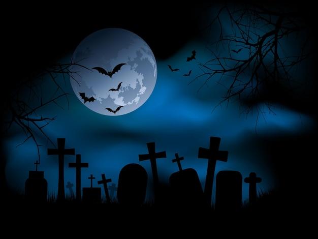 夜の不気味な墓地