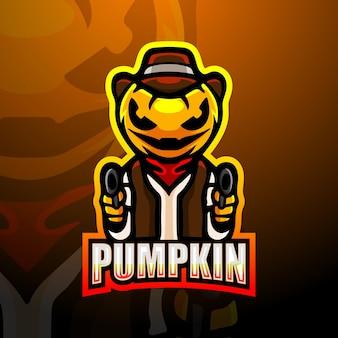 Spooky gunner pumpkin mascot esport illustration