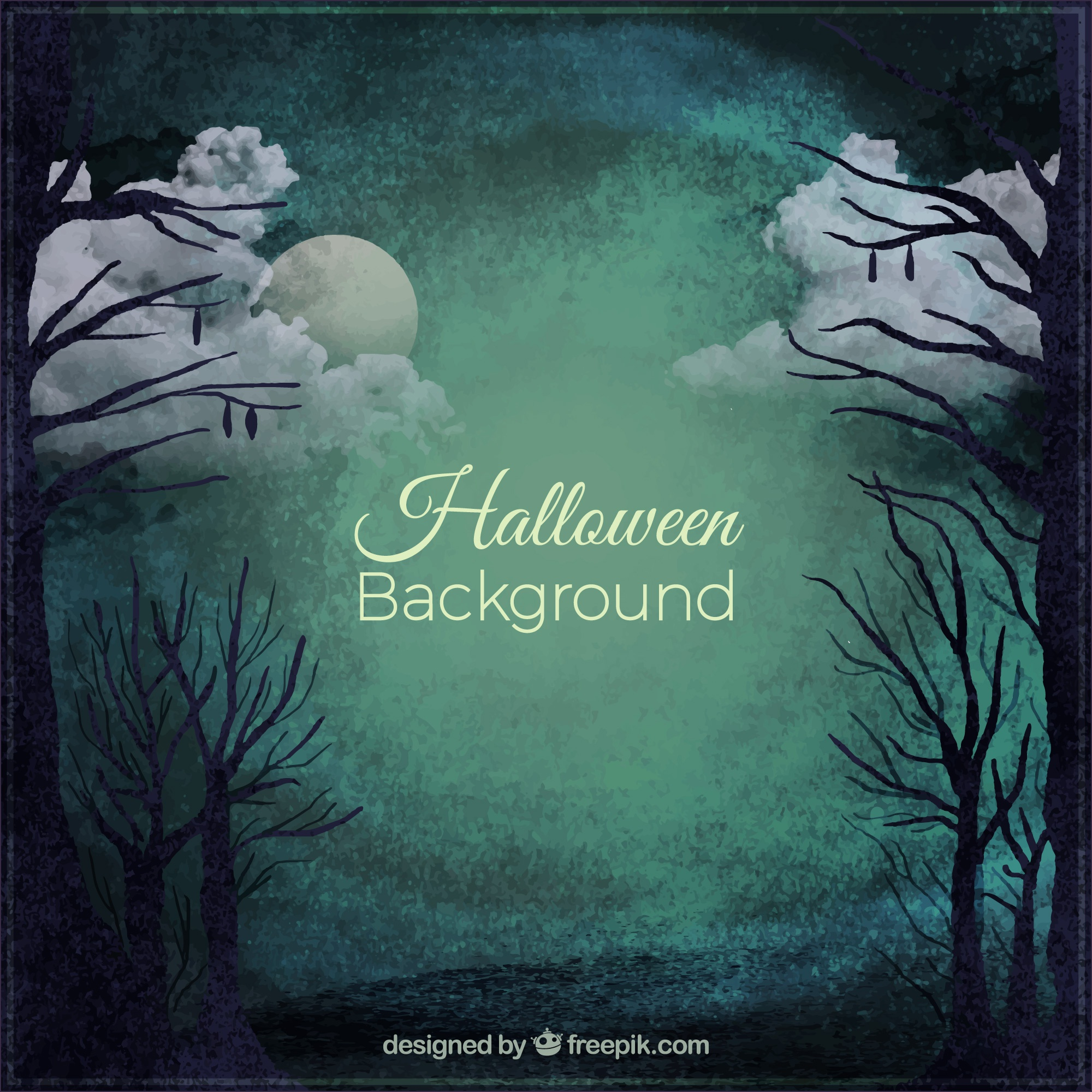 Spooky halloween background of a still forest by night