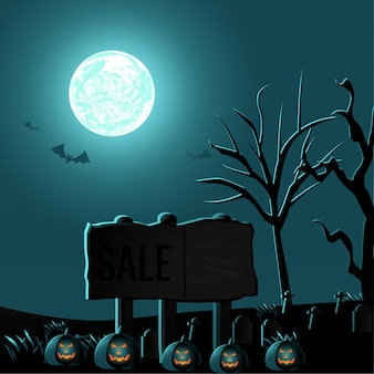 Spooky halloween background with ebony planks and barren trees