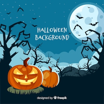Spooky halloween background with flat design