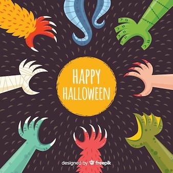 Призрачный фон на хэллоуин с плоским дизайном