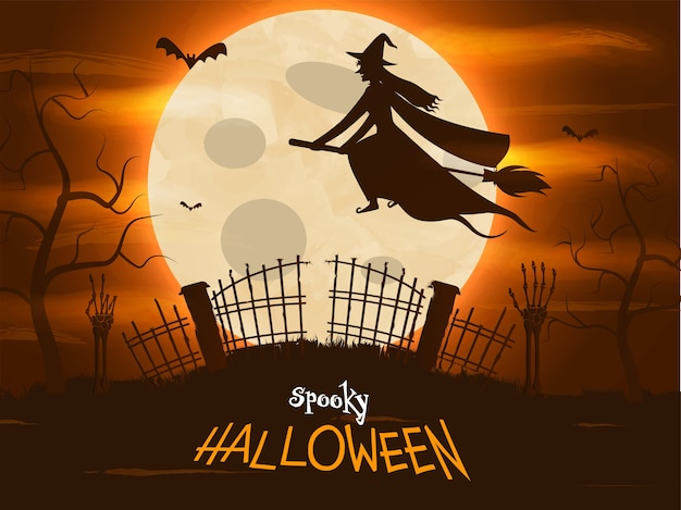 Spooky halloween background with full moon, witch flying on broom and forest view.
