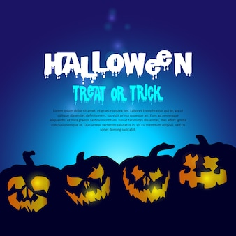 Spooky halloween background with pumpkins