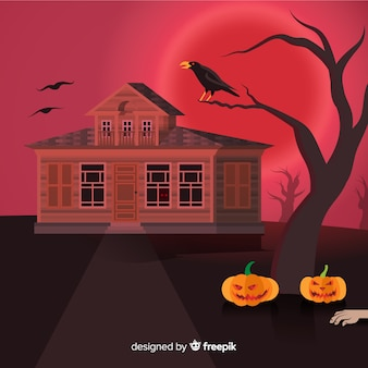 Spooky halloween background with realistic design
