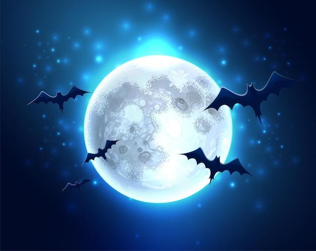 Жуткий фон хэллоуина с реалистичными страшными летучими мышами