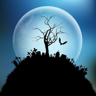 Spooky halloween background with a tree against the moon