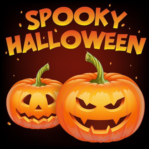 カボチャの顔-邪悪な笑顔のジャックoランタン、秋の休日バナーと不気味なハロウィーンのバナー。