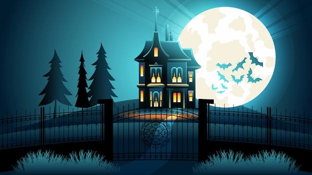 Spooky halloween castle scary night. flat banner