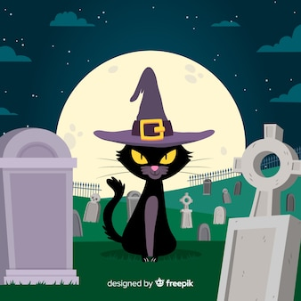 Spooky halloween cat with flat design