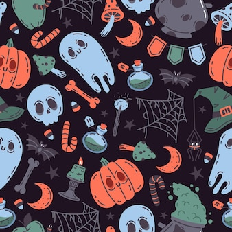 Spooky halloween doodle pumpkin ghost skull vector symbols seamless pattern