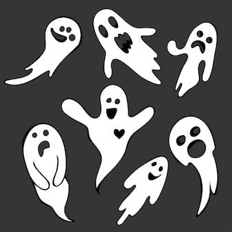 으스스한 할로윈 유령 무서운 얼굴을 한 날아다니는 유령 세트 속의 유령 유령
