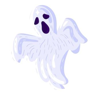 白い背景の上の不気味なハロウィーンの幽霊のアイコン。ハロウィーンの休日のための白い怖い幽霊のシルエットのキャラクター。漫画の死の兆候。ベクトルイラスト