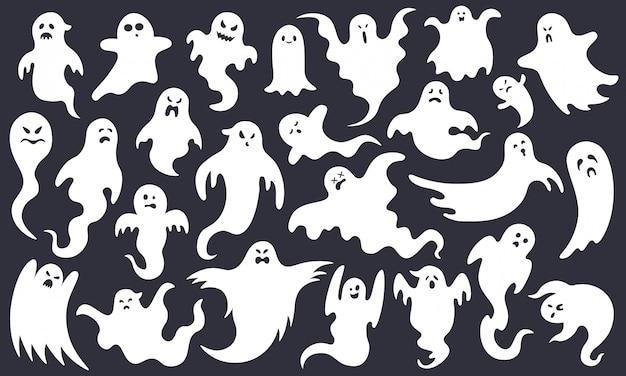 不気味なハロウィーンの幽霊。怖い幽霊のキャラクター、面白いスプークを飛ぶ、かわいい笑顔怖いハロウィーンゴーストマスコットイラストセット。ハロウィンゴーストホワイト、不気味な漫画のポルターガイスト