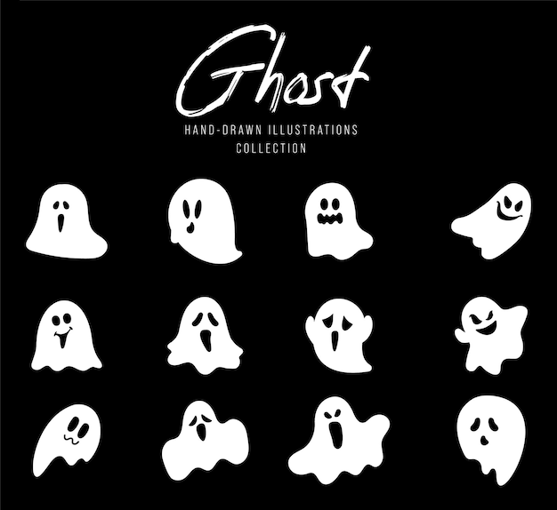 Spooky halloween ghost, scary ghost characters, hand drawn illustration.