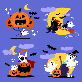 Spooky halloween ghost and witch character  illustration