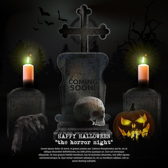 Призрачный вектор кладбища на хэллоуин