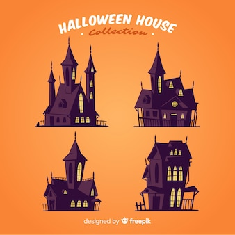 Spooky halloween house collection in flat design
