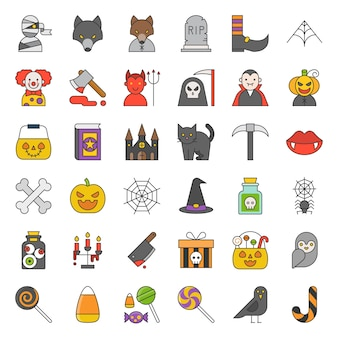 Spooky halloween icon set