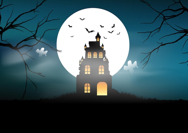Spooky halloween landscape background with castle and ghosts