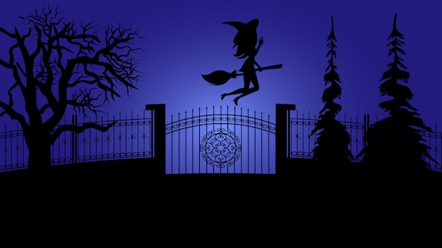 Spooky halloween night holiday. witch on broom.