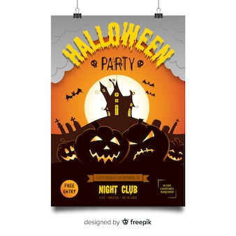 Spooky halloween party poster with flat design