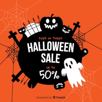 Spooky halloween sale flat design