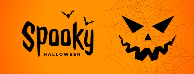 Spooky halloween scary banner with ghost face