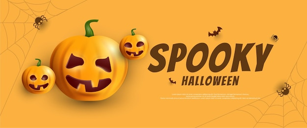 Spooky halloween scary banner with pumpkin lantern on yellow background