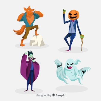 Spooky hand drawn halloween character collection