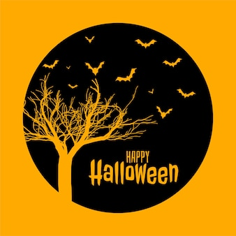 Spooky happy halloween flat style yellow card design