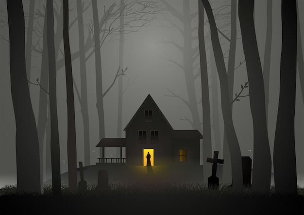 Spooky house in the woods