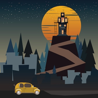 Spooky housed in mountains vector illustration