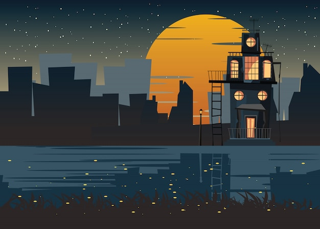 Spooky housed at riverside vector illustration