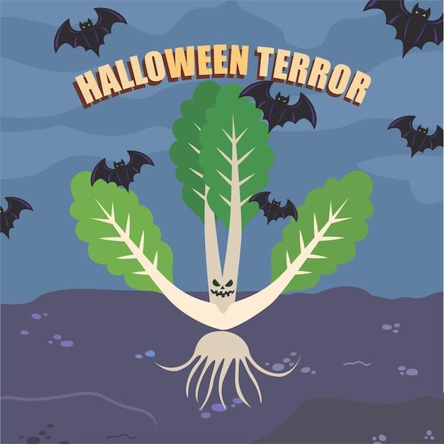 Spooky lettuce vegetables for halloween vector illustration
