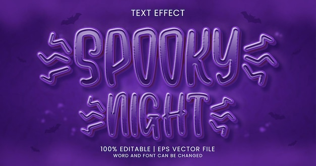 Spooky night text, 3d horror editable text effect style template