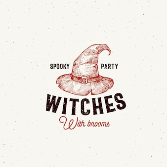 Spooky party witches with brooms halloween logo or label template. hand drawn witch hat sketch symbol and retro typography.