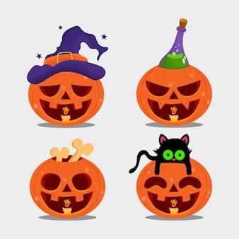Spooky pumpkin collection halloween vector flat illustration