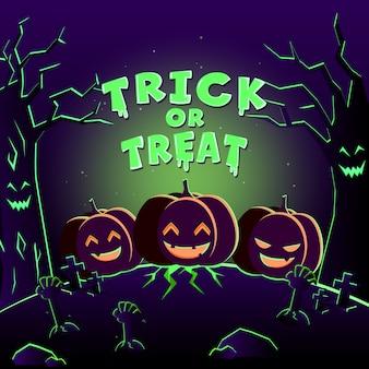 Spooky pumpkins on cemetery. halloween party  . trick or treat in graveyard.