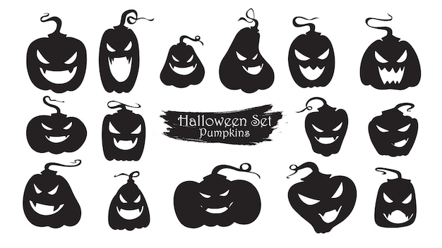Spooky pumpkins silhouette collection of halloween